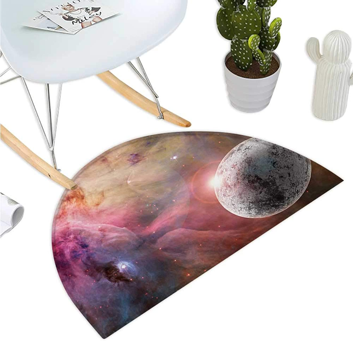 Outer Space Semicircular Cushion Unknown Frozen Planet in a Star Field with Circular Nebula Fog Galactic Energy Image Halfmoon doormats H 39.3  xD 59  Pink