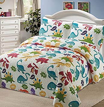 Luxury Home Collection 3 Piece Full//Queen Size Quilt Coverlet Bedspread Bedding Set for Kids Boys Dinosaur Blue White Green Red Purple Yellow Orange