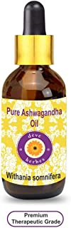 Deve Herbes Pure Ashwagandha Oil (Withania somnifera) with Glass Dropper 100% Natural Therapeutic Grade 100ml (3.38 oz)