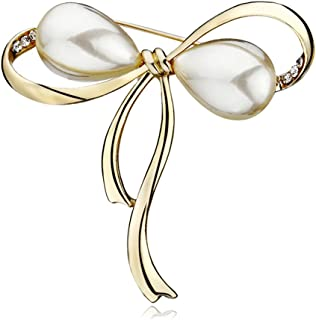Bow Brooches Imitation Pearl Simple Bowknot Clip Pin for Women Dress Shawl