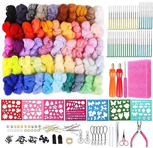 ARLT Needle Felting Kit, Wool Felting Kit, Wool Roving 50 Colors Set Needle Felting, Wool Felt Mold, Felting Tool