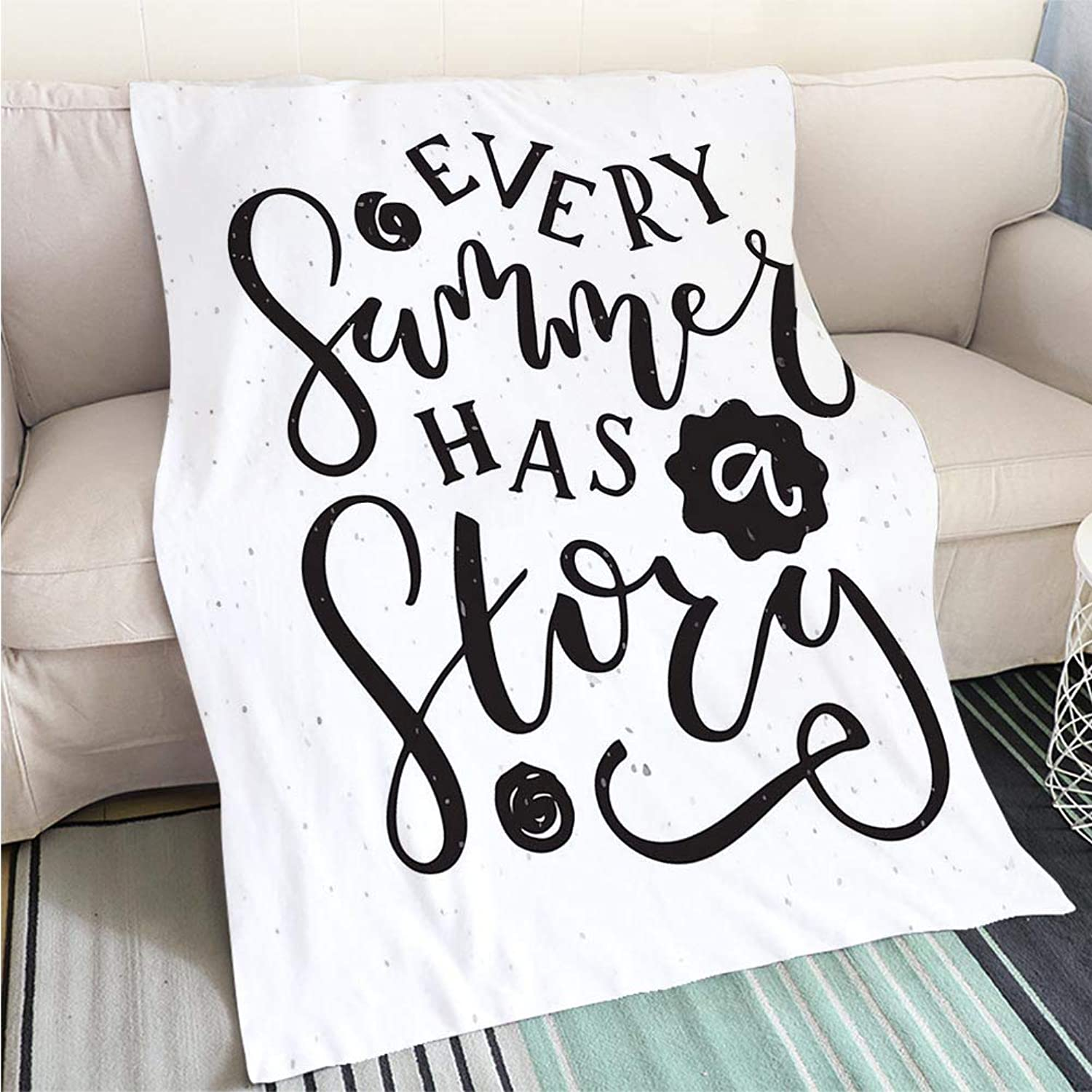 Art Design Photos Cool Quilt Hand Sketched 'Every Summer Has a Story' Text Perfect for Couch Sofa or Bed Cool Quilt