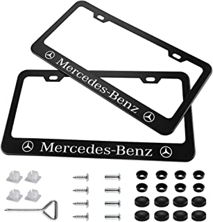 Yuanxi Electronics 2 Pieces Stainless Steel Mercedes-Benz License Plate Frame with Screw Caps Cover Set, Matte Black