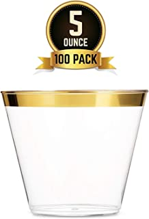 Small Gold Plastic Cups 5 oz 100 Pack Clear Plastic Cups Gold Rimmed Plastic Cups Fancy Disposable Cups Elegant Wedding Party Cups with Gold Rim