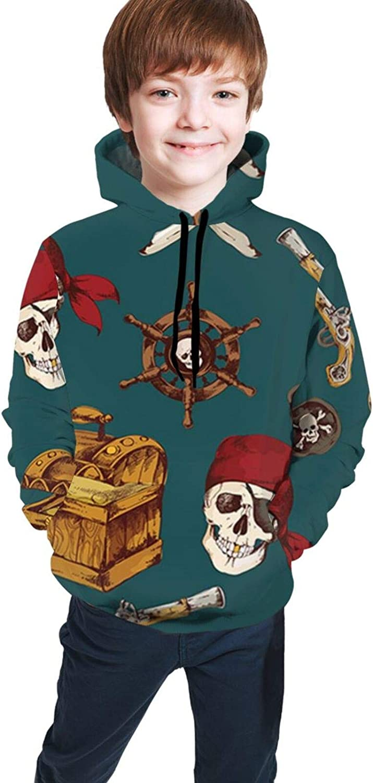 HXJIULI Youth Hooded Sweater Pirates Autumn Pocket Hoodie Sweatshirt for Boys Girls