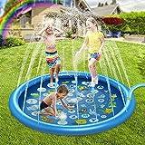 設計 噴水マット 水遊び 子供用 ビニールプール おもちゃ プレイマット 170CM直径 噴水 家庭用 親子遊び 芝生遊び 夏物遊具 庭 プール ビーチ 簡単収納 猛暑対策 アウトドア DOMOOMO 噴水プール