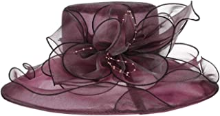 Summer Hats Organza Floral Wedding Fedoras Formal Kentucky Derby Hats Wide Brim Beach Church Hat