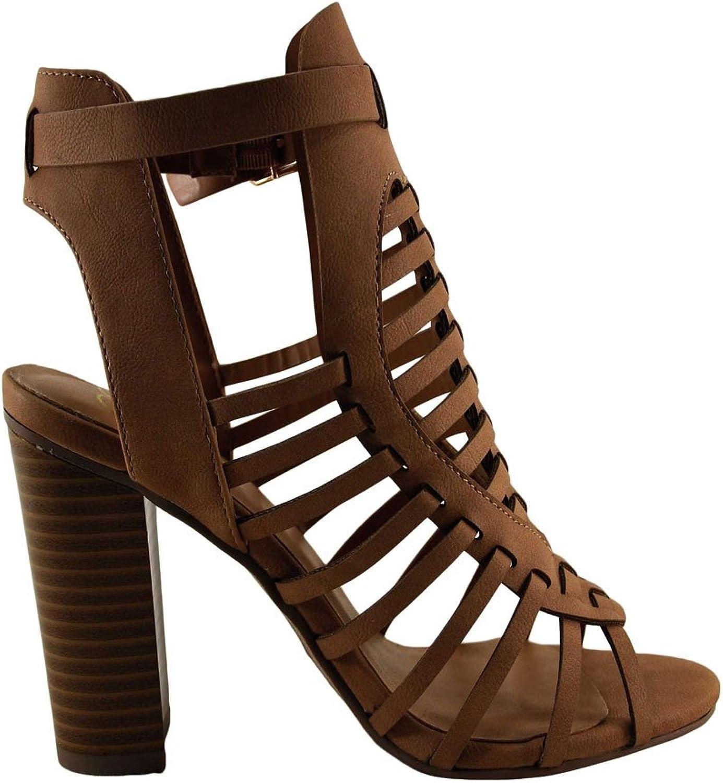 Delicious Ibiza S Women's Open Toe Caged Chunky Heel