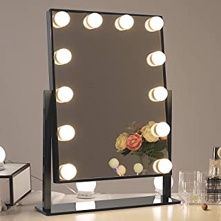 Chende Glossy Black Lighted Vanity Mirror with Dimmable LED Bulbs, Hollywood Style Makeup Mirror with Lights for Touch Con...