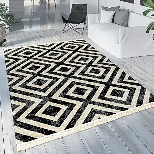 Vloerkleed Zwart Wit Balkon Terras Outdoor Scandi-Design Ruitpatroon Robuust, Maat:200x280 cm