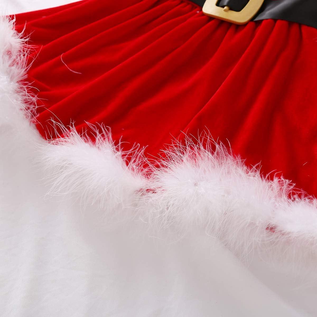Geagodelia Abito Bambina per Natale Vestitidi Babbo Natale Cosplay Costume Gonna Natalizia da Bambina