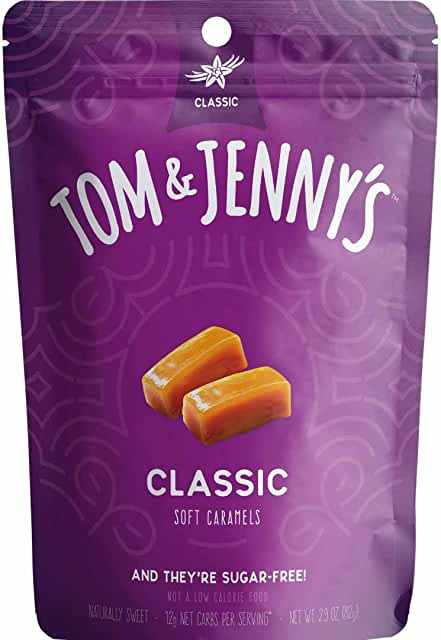 Tom & Jenny's Sugar Free Soft Caramel Candy with Sea Salt and Vanilla - Low Net Carb Keto Candy - with Xylitol and Maltitol - (Classic Caramel, 1-pack)
