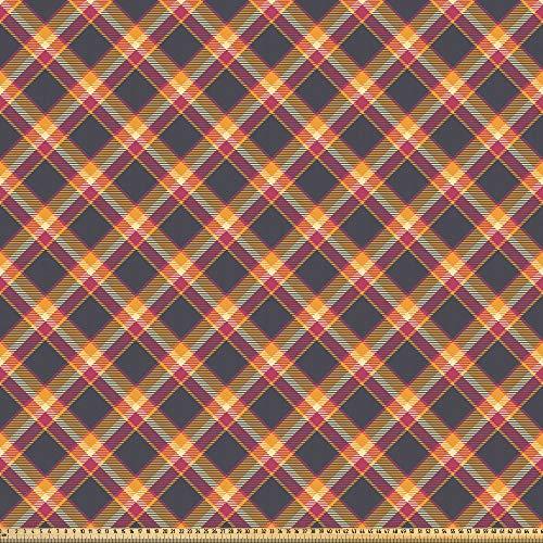 ABAKUHAUS Schotse ruit Stof per strekkende meter, British Country Style, Microvezel Stof voor Kunstnijverheid, 10 m, Charcoal Grey Marigold