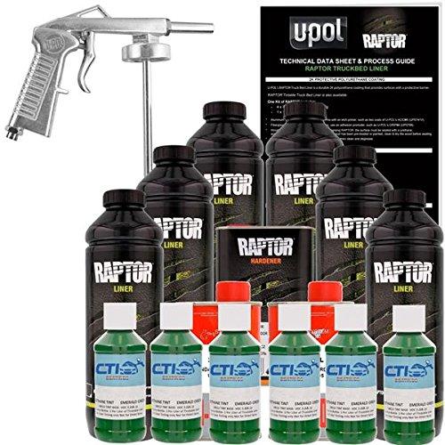 Raptor U-POL Emerald Green Urethane Spray-On Truck Bed Liner & Texture Coating W/Free Spray Gun, 6 Liters