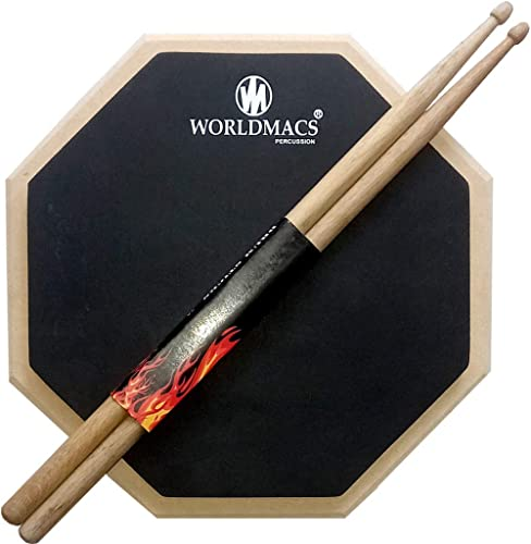 worldmacs 12'' Inches 2 Sided Drum Practice Pad + Bag + Drumsticks