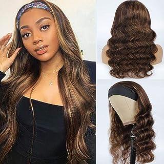 Ombre Headband Wig Human Hair 4/27 Brazilian Virgin Hair None lace Wigs Body Headband wig for Women (18 Inch)