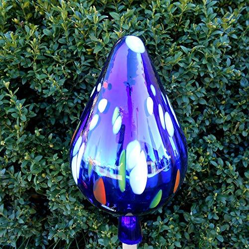 Naturholz-Schreinermeister XL Rosenkugel Tropfen Höhe 28cm Durchmesser 14cm Rosenkugeln Gartenkugel Handarbeit stabiles Glas verspiegelt und wetterfest (Blau Bunt mit Weiß)