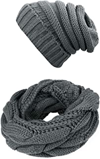 Knit Infinity Scarf Beanie Hat Set Women Winter Circle Loop Scarfs Scarves