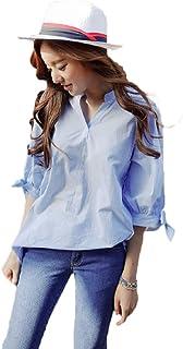 【Smile LaLa】 レディース ブラウス シャツ カットソー トップス 半袖 七分袖 オフィス シンプル 夏服
