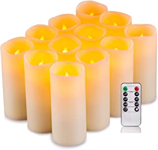 drea Flameless Candles, Battery Candles Real Wax Pillar Candles Set of 12(D2.2 x H5) led Candles with Remote Timer(Batteries not Included) …