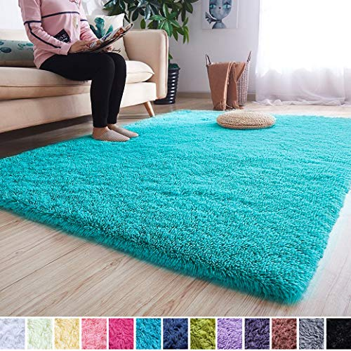 Noahas Super Soft Modern Shag Area Rugs Fluffy Living Room Carpet Comfy Bedroom Home Decorate Floor Kids Playing Mat 4 Feet by 5.3 Feet, Teal Blue