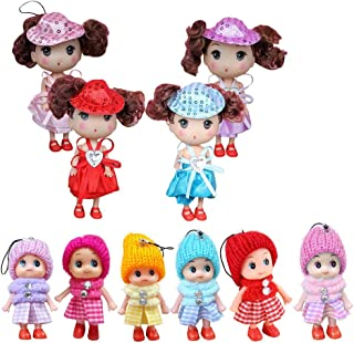 10 PCS Mini Dolls for Baby Girls, Princess Mini Doll Toys Set For Girl, Animators Collection Mini Doll Set, Surprise Dollhouse Loving Family Dolls Toy, Little People Mini Doll House Figures Keychain