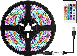Btuty Tiras de LEDs coloridos RGB reguláveis por USB com controle remoto infravermelho 16 cores e 4 modos de iluminação 5m...