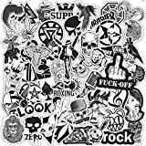 Cool Stickers Vinyl Waterproof Stickers for Laptop,Bumper,Water Bottles,Computer,Phone Car Stickers and Decals,Teens for Adults and car Stickers for Women (Black and White 50PCS)