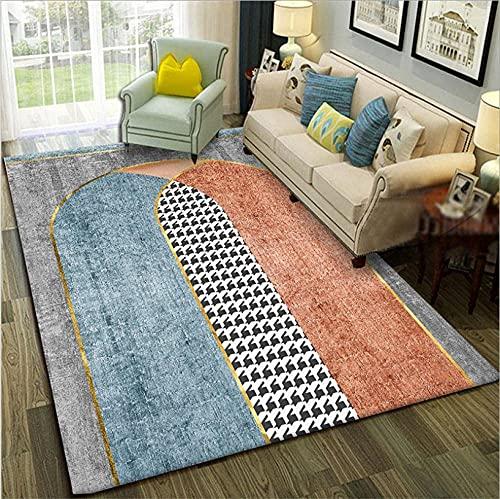 GONGFF Alfombras de área para sala de estar, alfombra moderna, decoración del hogar, antideslizante, azul, gris, blanco, marrón, rojo, geométrico, 120 x 170 cm