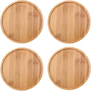 TOUCH MISS 4.4 Inch Round Bamboo Plants Saucer for Cactus Owl Pot Sandy Beige Pack of 4