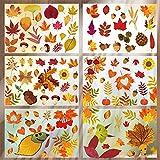 O-Kinee Erntedankfest Fensteraufkleber, 9-teilig Fensteraufkleber Thanksgiving Fenster, Fensterbilder Herbst Selbstklebend, Fenster Dekorationen, Herbst Blätter Laub Blatt Eicheln Maple Leaf