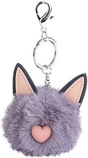 Sanwooden Cute Cat Faux Fur Fluffy Ball Key Chain Girls Bag Pendant Hanging Keyring