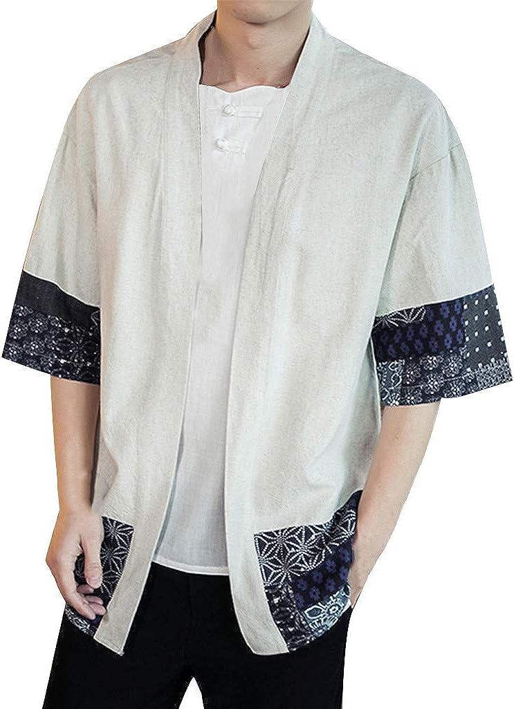 F_Gotal Men's Japanese Kimono Cardigan Jacket Yukata Casual Cotton Linen Seven Sleeve Lightweight Open Front Drape Cape