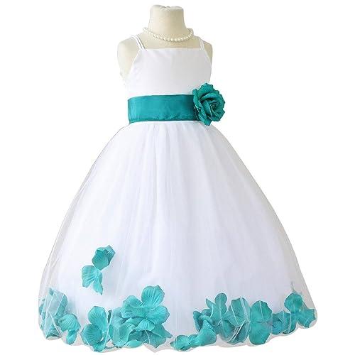 27e4622e1 Flower Girl Dress Rose Petal Paperio Easter Wedding Girl White (Baby - 14)