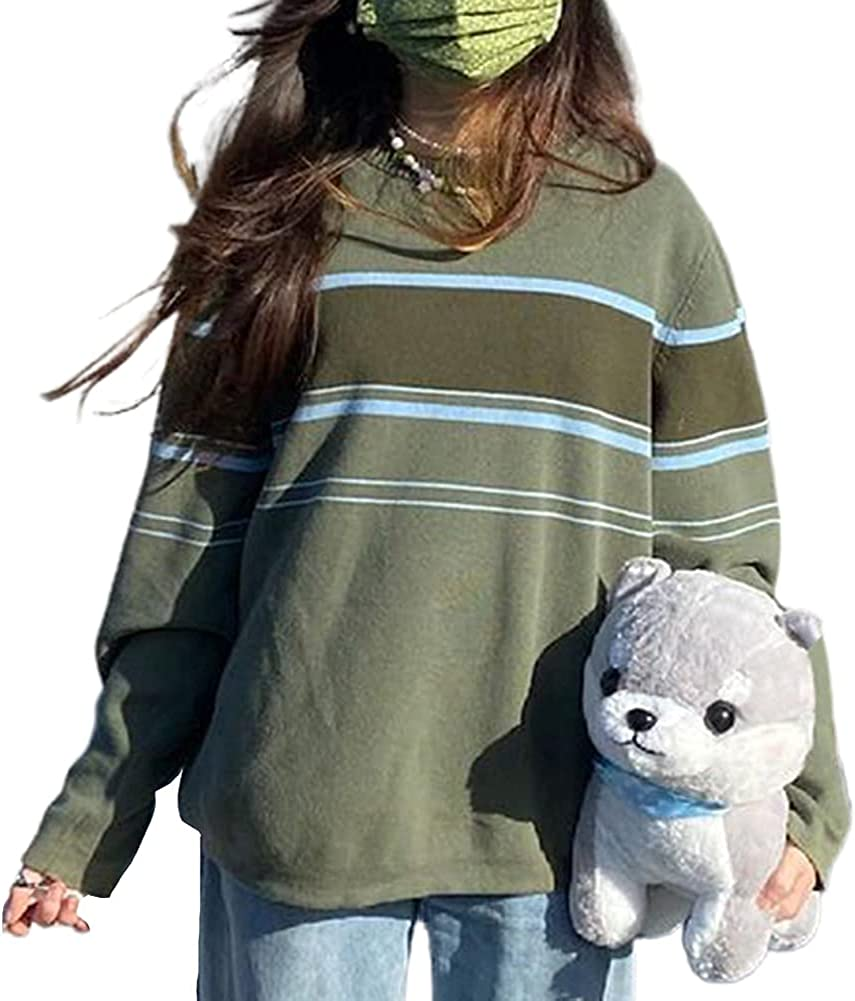 Women Y2k Oversized Pullover Sweater Vintage Printed Long Sleeve Crewneck Knitted Soft Knit Casual Loose Pullover Tops
