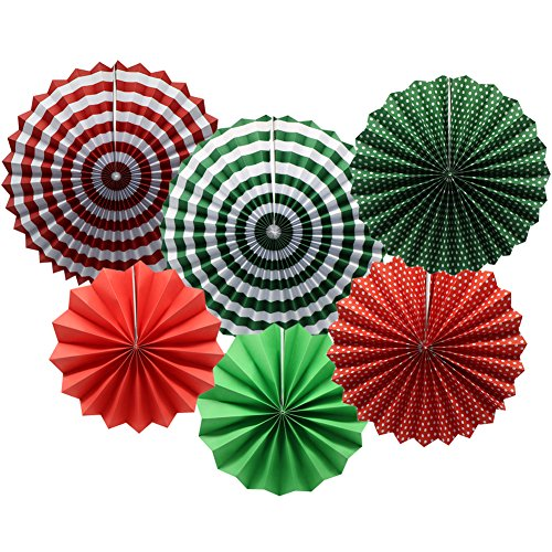 ADLKGG Party Hanging Paper Fans Set, Round Pattern Paper Garlands Decoration for Party Birthday Christmas Events Accessories, Set of 6