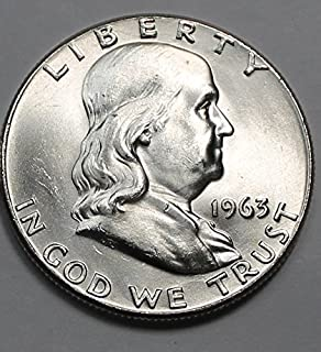 1950 to 1963 Beautiful Brilliant Uncirculated Franklin Half 90% Silver 1-Coin 1/2 BU