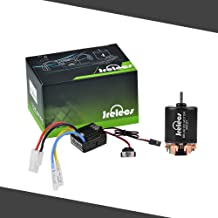 Jrelecs 540 35T 4 Poles Brushed Motor and WP-1060-RTR 60A Waterproof Brushed ESC Electronic Speed Controller with 5V/2A BEC for Axial RC4WD CROSS HPI MIST GMADE D90 D110 TF2 SCX10 ii PG4 MC8 WARAITH Y