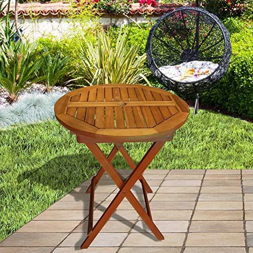 Aktive 61028 - Mesa redonda plegable de madera acacia D60 cm Garden