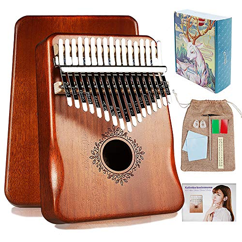 Kalimba 17 Keys Thumb Piano with Study Instruction and Tune Hammer,Portable Mahogany Wood Finger Piano, Gift for Kids Adult Beginners Professional.