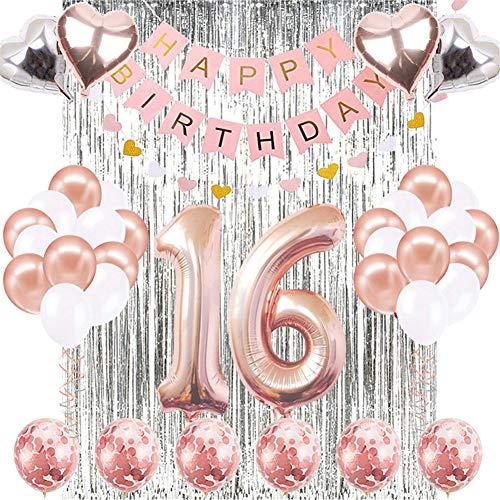 JOTOM Decoración para Fiestas Globos Accesorios Decoración de Cumpleaños Globos de Papel de Aluminio y Globos de Confeti Suministros para Fiestas de Noche (Decoraciones de 16 Años)