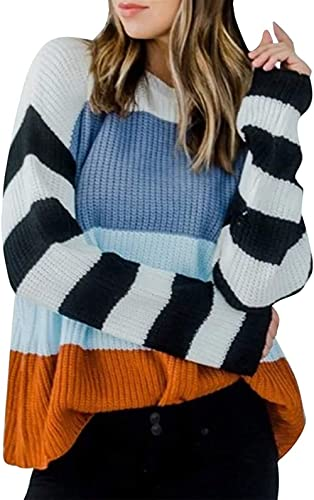 Womens Casual Crew Neck Color Block Oversized Lightweight Sweater Long Sleeve Knit Pullover Jumper Tops