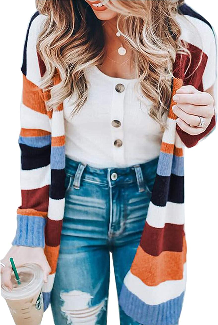 Womens Color Block Striped Cardigan Long Knit Ranking TOP12 Topics on TV Sleeve Front Open