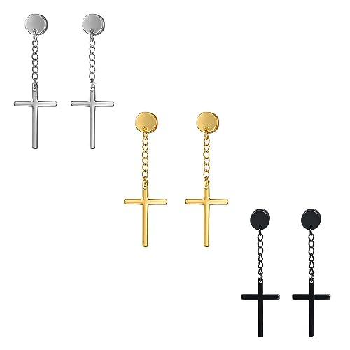 2pcs Stainless Steel Cross Tassel Threader Dangle Drop Earrings for Women Girls