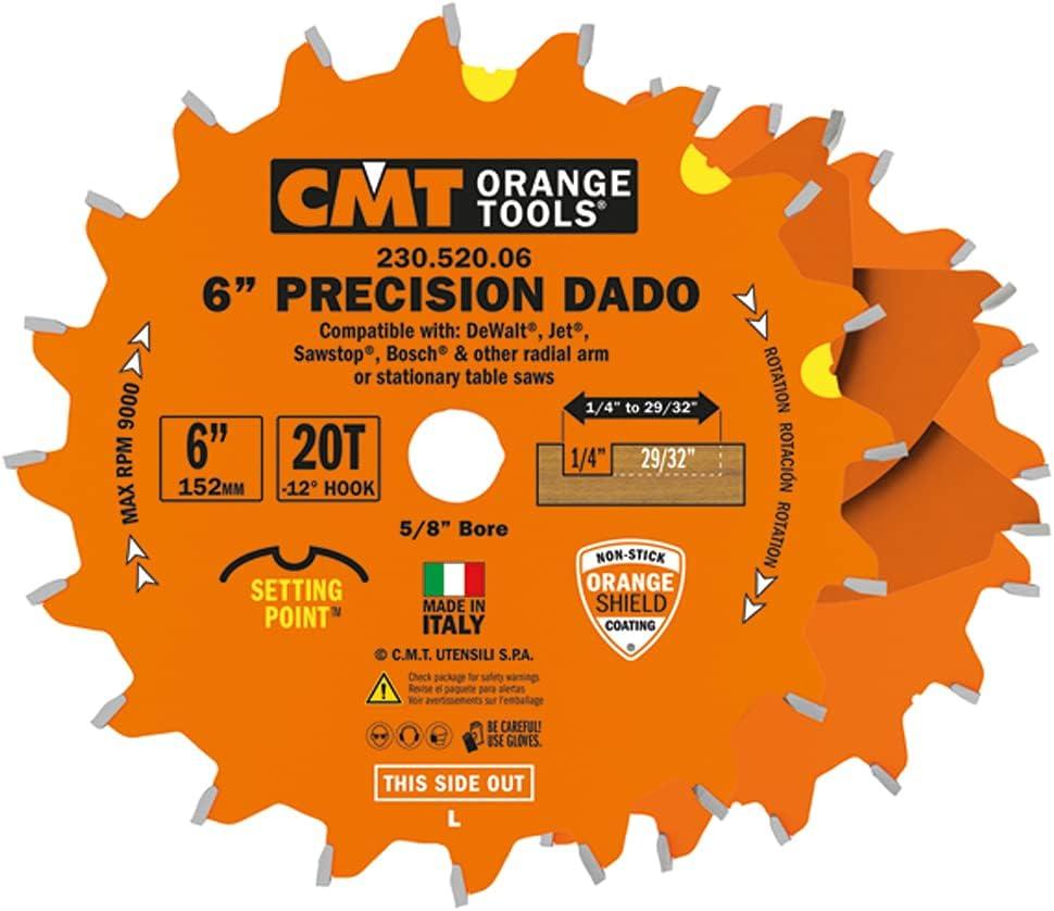 CMT 230.520.06 Precision Sale price Max 63% OFF Dado Set 6-Inch FTG+ATB Gri x Teeth 20