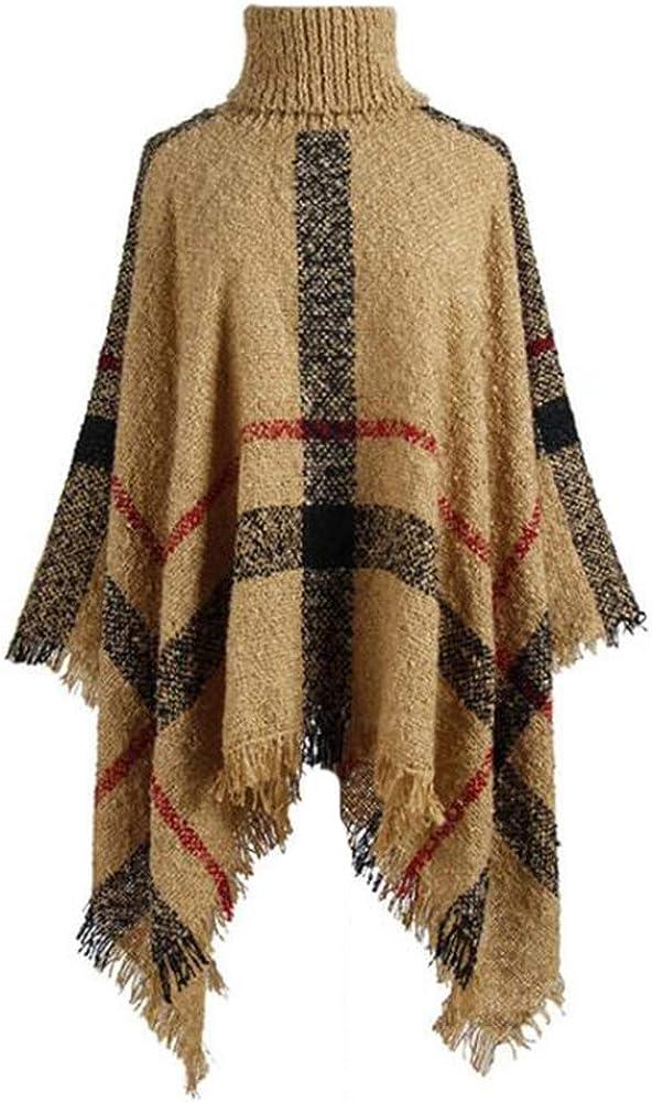 Elegante Manta de Poncho de Punto para Mujer Capa chales de Cuello Alto Envolturas Borlas Capas con Patrones de Rayas y Lados con Flecos