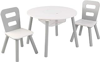 KidKraft 26166 rund bord med förvaringsutrymme och 2 trästolar för barn i grått och vitt - barnkammare möbler