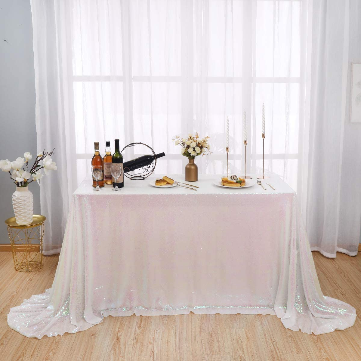 Kirsooku White Sequin Tablecloth Glitter Spring new work Max 83% OFF one after another Shim Iridescent Sparkly