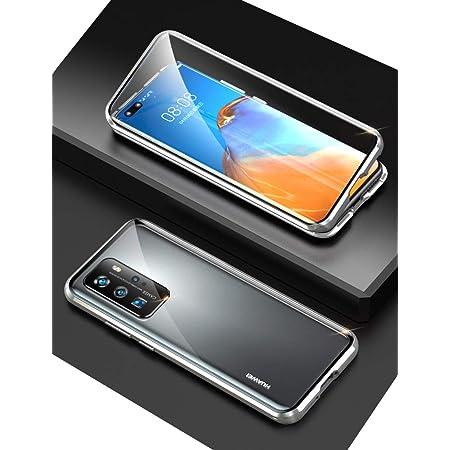 Huawei P40 Pro ケース ファーウェp40pro 対応 uovon アルミバンパー 360°全面保護 磁気吸着 カメラレンズ保護 指紋認証対応 クリアケース ・ シルバー