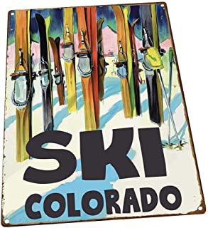 Ski Colorado Metal Sign, Retro Decor, Vintage Travel Postcard Highlighting Traditional American Destinations